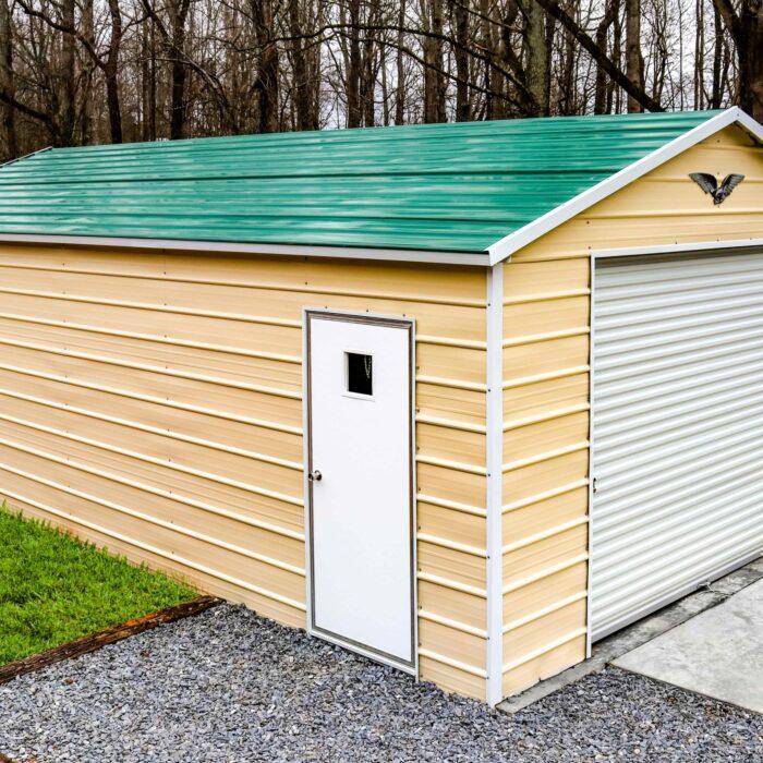 24'x30'x12′ vertical roof garage with (1) roll up door (2) windows (1) walk door